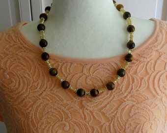Tigers Eye Beads, Mother of Pearl Beads, Swarovski Crystal Beads and Gold  Beads Necklace, Fall Necklace, Autumn Necklace