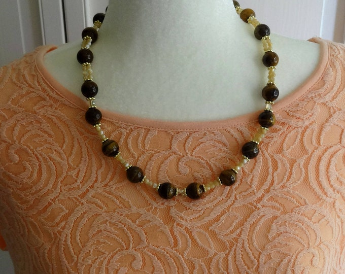 Tigers Eye Beads, Mother of Pearl Beads, Golden Shadow Swarovski Beads and Gold Rondelle Beads Necklace