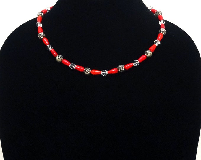 Red Coral Bead Necklace / Red Swarovski Bead Necklace / Silver Metal Rose Bead Necklace / Romantic Necklace