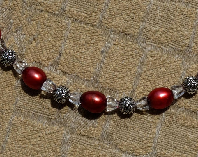 Red Freshwater Pearls, Vintage Crystal Beads and Sterling Silver Beads Necklace, Valentine
