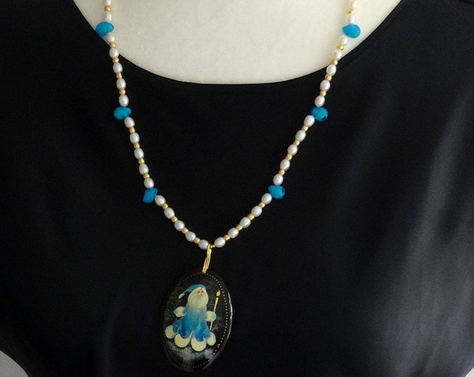 Christmas Necklace made of Freshwater Pearls and Blue Czech Glass Beads with Old World Santa Paper Mache Pendant