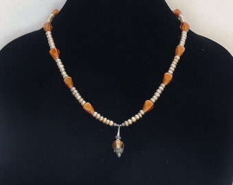 Cream Button Pearls and Czech Glass Brown Beads Necklace with Silver and Glass Bead Pendant