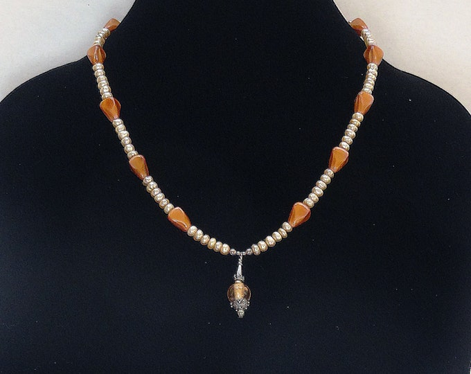 Cream Button Pearls and Czech Glass Brown Beads Necklace / Silver and Glass Bead Pendant