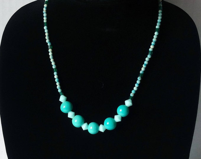 Teal Vintage Glass Beads and Teal Swarovski Crystal Beads Necklace