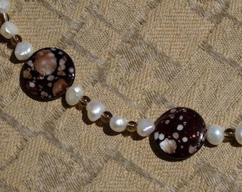 White Freshwater Pearls, Brown Smokey Quartz and Brown Shell Beaded Necklace, Fall Necklace, Autumn Necklace