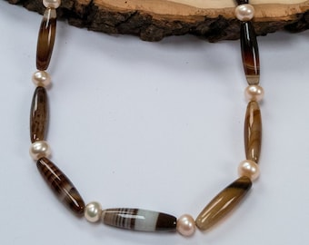 Brown Agate Necklace, Agate and Freshwater Pearl Necklace, Brown Bead Necklace, One of a Kind Necklace