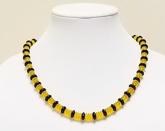 Yellow and Black Glass Beaded Necklace, Summer Necklace