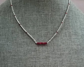 Garnet Necklace, January Birthstone, Garnet Bar Necklace, Red Gemstone Necklace, Silver Hematite Necklace, Dainty Garnet Necklace