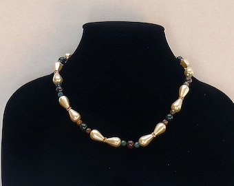 Green and Brown Jasper Beads, Cream Glass Pearl Beads and Swarovski Beads Necklace, Fall Necklace,  Autumn Necklace