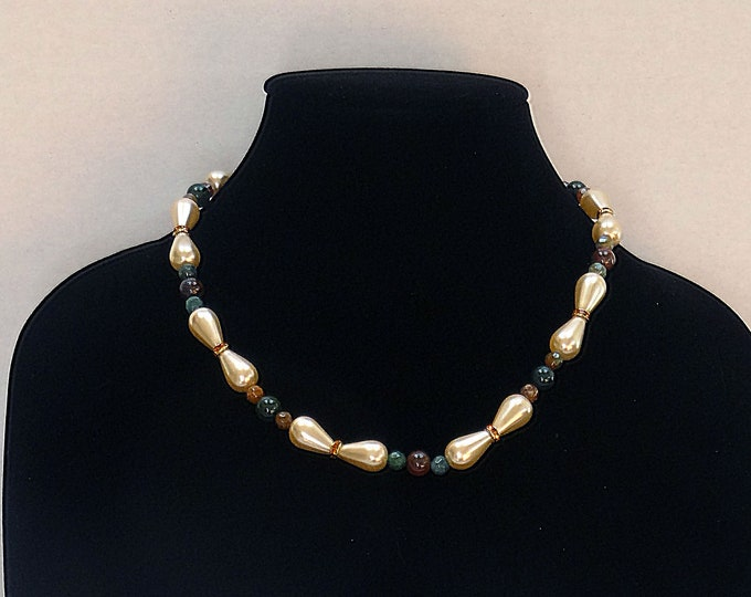 Green and Brown Jasper Beads, Cream Glass Pearl Beads and Swarovski Beads Necklace  / Fall Necklace