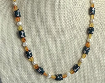 Blue Glass Flower Beads, White Freshwater Pearls and Vintage Orange Beaded Necklace, Casual Necklace