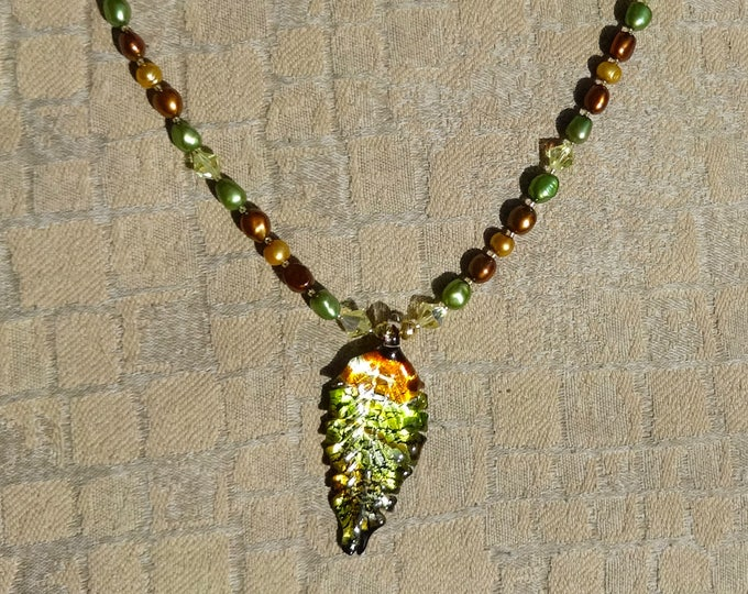 Gold Pearls, Rust Pearls and Green Pearls, Yellow Swarovski Beads and Gold Plated Beads Necklace with Glass Leaf Pendant, Fall, Autumn