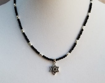 Star of David Pendant Necklace, Black Bead Necklace, Silver Bead Necklace, Judaica Necklace, Bat Mitzvah Gift, Chanukah Gift