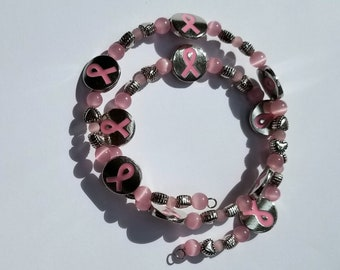 Breast Cancer Awareness Memory Wire Pink Cat Eye Bead Bracelet, Breast Cancer Awareness Bracelet, Pink Awareness Bracelet
