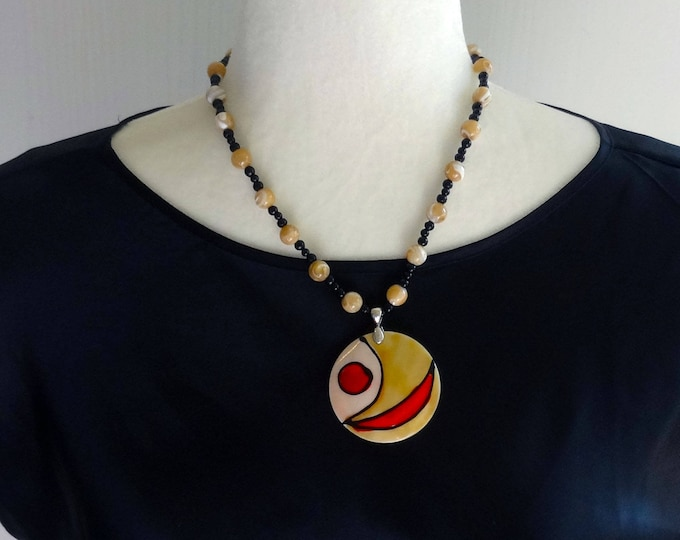 Mother of Pearl Bead and Black Glass Bead Necklace with Abstract Design Shell Pendant