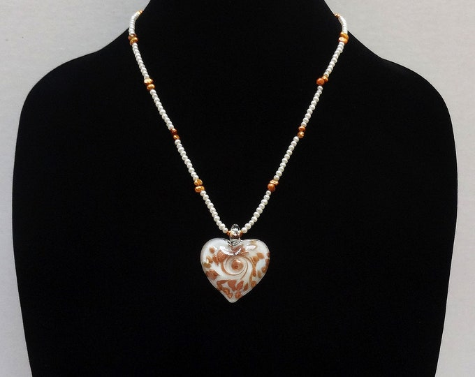 Freshwater White and Bronze Pearl Necklace / White and Bronze Murano Glass Heart / Romantic Necklace