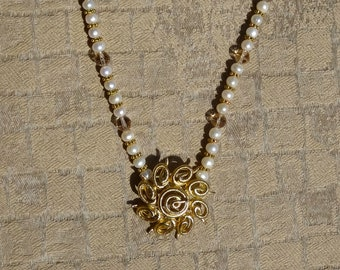 Vintage Monet Brooch, Pearls, Swarovski Beads and Gold Metal Beads Necklace, Pearl Necklace with Vintage Pendant