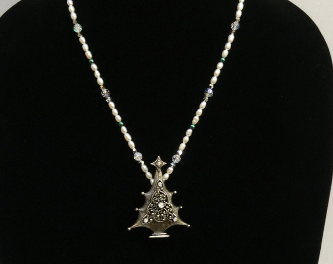 Christmas Necklace made of Freshwater Pearls, Glass Pearls and Swarovski Crystals with Pewter Christmas Tree Pendant