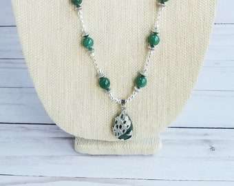Peacock Aventurine Pendant, Aventurine Necklace, Aventurine Healing Amulet Pendant, Green Bead Necklace, Long Necklace