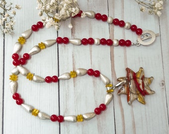 Glass Sun Pendant Necklace, Murano Glass Sun Pendant, Silver Bead Necklace, Red Glass Bead Necklace, Yellow Glass Bead Necklace