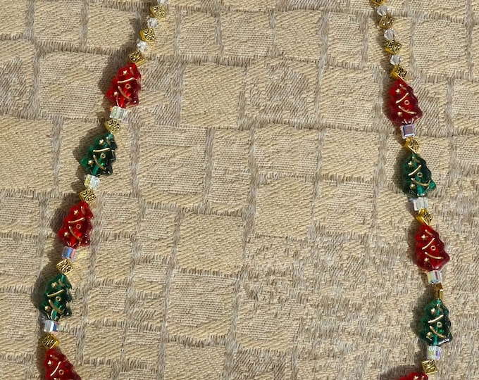 Christmas Necklace Made of Czech Glass Green and Red Christmas Trees, Swarovski Crystal Beads and Gold Metal Diamond Beads