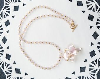 Pink Iris Pendant, Vintage Pink Iris Brooch, Rose Quartz Necklace, Pink Bead Necklace, Pink Spring Necklace, Pink Summer Necklace