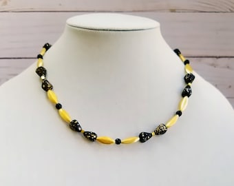 Gold Bead Necklace, Black Czech Glass Bead Necklace, Gold and Black Bead Necklace
