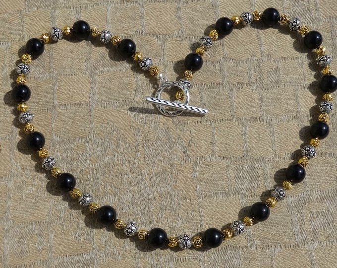 Black Onyx Beads, Gold Metal Rose Beads and Silver Spiral Metal Beads Necklace