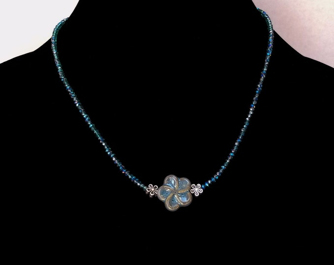 Minimalist Teal Crystal Necklace / Minimalist Teal Flower Focal Necklace / Minimalist Teal Crystal Choker / Layering  Necklace /