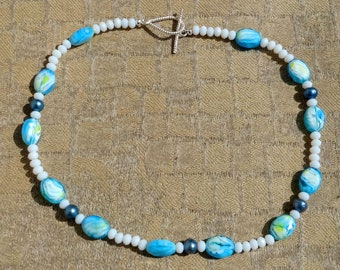 Teal Swirl Glass Beads, Teal Pearl Glass Beads, White Faceted Glass Beads Necklace / Spring Necklace / Summer Necklace