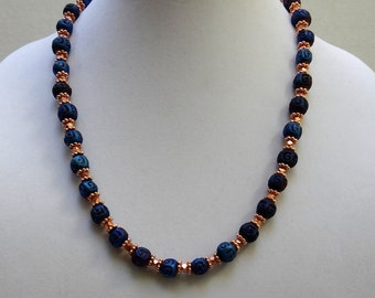 Blue Ceramic Beads and Copper Metal Bead Necklace, Pantone Color 2020, Classic Blue Necklace