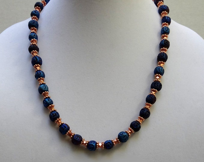 Blue Ceramic Beads and Copper Metal Bead Necklace / Pantone Color 2020 / Classic Blue