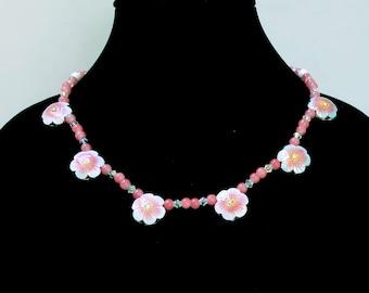 Cherry Quartz Necklace, Pink Quartz Necklace, Pink Floral Bead Necklace, Pink Bead Necklace, Floral Necklace, Vintage White Glass Beads