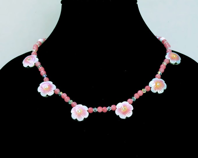 Featured listing image: Cherry Quartz Necklace, Pink Quartz Necklace, Pink Floral Bead Necklace, Pink Bead Necklace, Floral Necklace, Vintage White Glass Beads