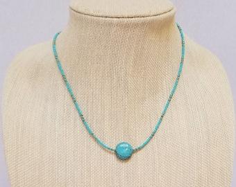 Turquoise Bead Minimalist Necklace, Turquoise Bead Minimalist Choker, Glass Turquoise Bead Necklace, Glass Turquoise Bead Choker
