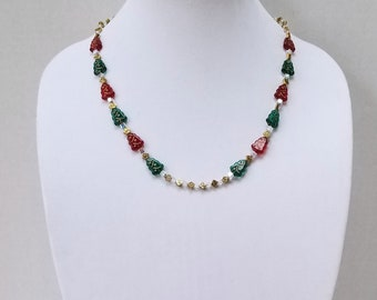 Christmas Necklace / Czech Glass Green and Red Christmas Trees, Swarovski Crystal Beads and Gold Metal Diamond Beads