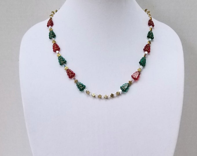 Featured listing image: Christmas Necklace / Czech Glass Green and Red Christmas Trees, Swarovski Crystal Beads and Gold Metal Diamond Beads