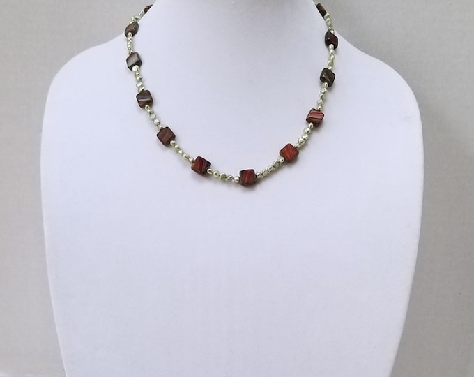 Christmas Color Red and Green Czech Glass Beads and Freshwater Green Pearl Necklace