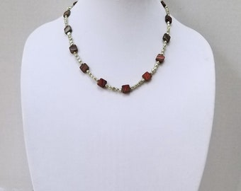 Christmas Color Red and Green Czech Glass Beads and Freshwater Green Pearl Necklace / Christmas Bead Necklace