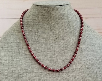Garnet Necklace, January Birthstone, Red Gemstone Necklace, Red Bead Necklace, Garnet Bead Necklace