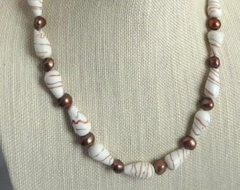 White Lampwork Glass Beads and Copper Freshwater Pearls Beaded Necklace, Fall Necklace, Autumn Necklace