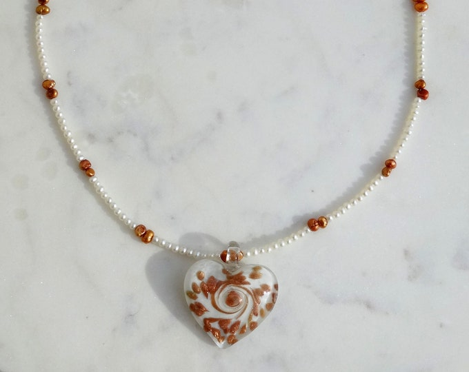 Freshwater White and Bronze Pearl Necklace with White and Bronze Lampwork Glass Heart, Valentine Necklace