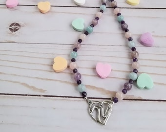 Multicolor Agate Necklace, Amethyst Necklace, Silver Heart Pendant, Silver Heart Toggle, Long Bead Necklace, Pastel Colors, Spring, Summer