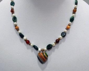 Emerald, Jasper and, White Pearl Necklace, Multi-color Striped Ceramic Heart Pendant, Fall Beaded Necklace, Autumn Beaded Necklace