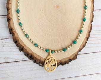 Vintage Bone Floral Pendant, Teal Jasper Necklace, Glass Pearl Necklace, Floral Pendant Necklace, Long Layering Necklace