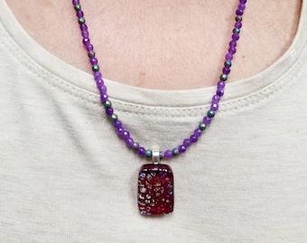 Purple Agate Necklace, Purple Glass Pendant, Purple Dichroic Pendant, Rainbow Hematite Necklace, Dainty Purple Necklace