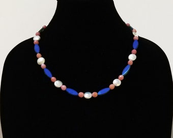 Pink Glass Bead Necklace, Blue Glass Bead Necklace, Czech Glass Bead Necklace, Glass Bead Necklace with White Pearls