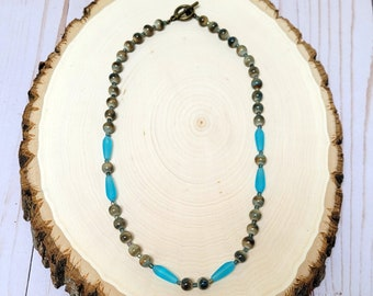 Ceramic Brown Bead Necklace, Teal Glass Bead Necklace, Fall Necklace, Autumn Necklace