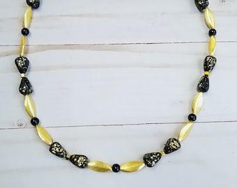 Gold Bead Necklace, Black Czech Glass Bead Necklace, Gold and Black Bead Necklace