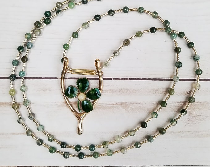 Featured listing image: Shamrock Brooch, Vintage Shamrock Pin, Green Shamrock Pendant, Agate Moss Necklace, St Patricks Day Necklace, Clover Pendant, Wishbone Pin